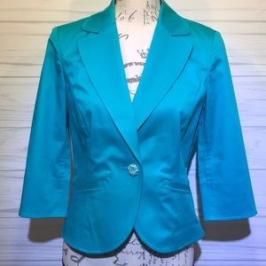 Caslon Turquoise 1/4 Sleeve Jacket Medium P
